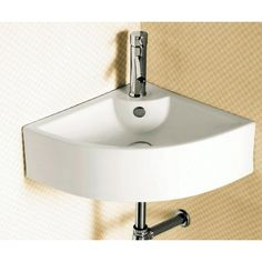 Nameeks Caracalla Hole White Caracalla Ceramic Wall Mounted Bathroom Sink with 1 Faucet Hole and Overflow - Wohnwagen Corner Sink Bathroom, Vessel Sink Bathroom, Bathroom Plants, Vanity Sink, Bathroom Ideas, Basement Bathroom, Bath Ideas, Sink Faucets, Bathrooms