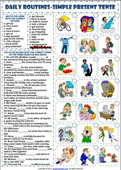 Daily routines simple present tense esl worksheet esl printable grammar wor Daily Routine Worksheet, Daily Routines, Teaching Activities, Daily Activities, English Lessons, Learn English, Learn Spanish, Teaching English, Education English