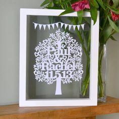 Personalised Wedding Or Anniversary Tree Papercut