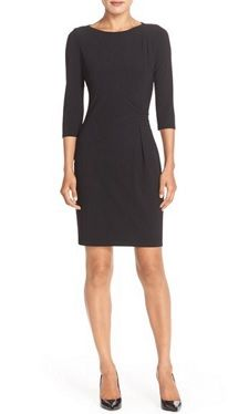 black workwear dress with sleeves - Marc New York Ruched Crepe Sheath Dress