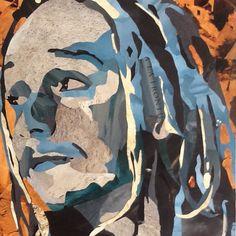 Portrait collage sur bois 41x62