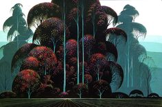 Eyvind Earle (1916-2000) painted more than 800 Christmas card designs during the 1940s. In the following decade he was hired by Disney, and his stylized background illustrations appeared in such animated films as Sleeping Beauty.