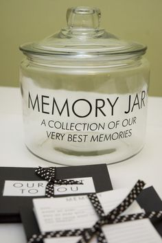 Create a memory jar for friends and family to write their memories of the deceased loved for the grieving family to enjoy for the future.  Last Key Creations - Memory Jar
