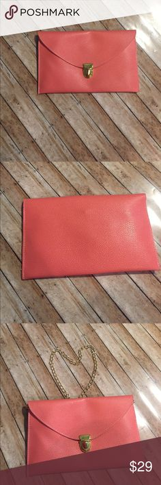 Peachy Coral Cross Body or Clutch-you decide which Brand:  Boutique  Color: Peachy Coral   Size: Small   Condition: EUC  ❌Trades❌  ⚡️I ship lightening fast⚡️  🎉Discounts with bundles🎉 Boutique Bags Crossbody Bags