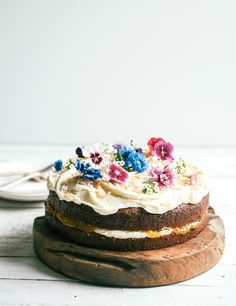 hummingbird cake with edible flowers