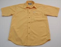 Columbia GRT Button Up Short Sleeve Shirt Mens Size Medium M Yellow Checked #Columbia #ButtonFront