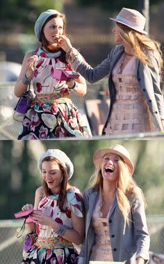 "Blair Waldorf wearing Moschino Resort and Serena van der Woodsen wearing George Chakra in Paris in the episode ""Bellesde Jour""....."
