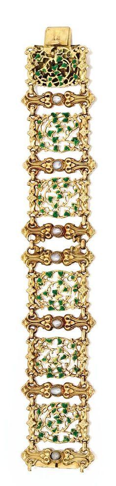 Gold, Split Pearl and Enamel Bracelet, ca. 1850