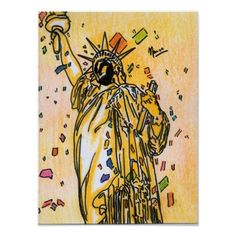 USA statue of liberty confitti painting Posters