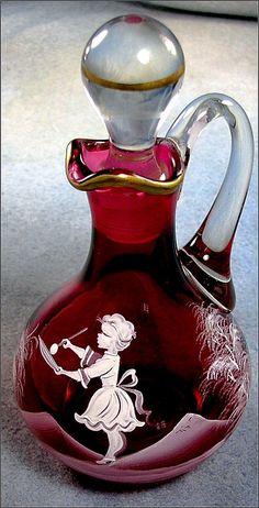 Czechoslovakia Cranberry Glass Mary Gregory Cruet