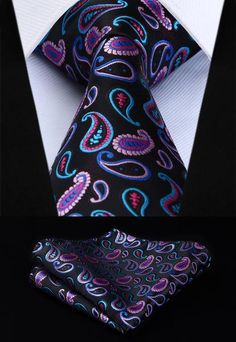 Hanky boutons de manchette-Design Italien Aqua Metallic Paisley Silk Tie