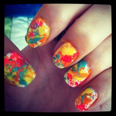 Splatter painted nails