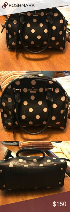 Kate Spade Small Pearl Handbag, polka dots Great used condition.  No signs of wear on the Outside, a very small amount of dirt on inside (which could probably be wiped clean, I just have never tried).  Black with tan polka dots. Patent leather.  Had adjustable removable cross body strap. kate spade Bags
