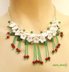 #Cherry  Flower #necklace  White jewelry  Handmade by insoujewelry