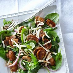 Enjoy juicy and delicious Warm balsamic-soaked mushroom and spinach salad from the barbecue. Find more great grilling recipes at Chatelaine.com!