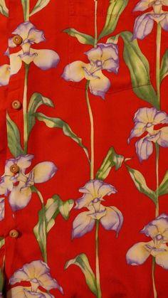 Paradise Found Hawaiian Mens Shirt L Red Purple Orchids Flowers Palms #ParadiseFound #Hawaiian