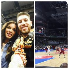 SergioRamosGran tarde de baloncesto con @pilarrubio_oficial. Great basketball evening with @pilarrubio_oficial. Vamos! #HalaMadrid #pasiónpo