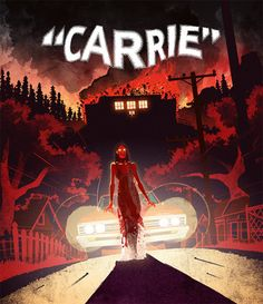Carrie, Child's Play, The Thing and more horror hits and cult sensations that have received notable new Blu-ray releases. Horror Movie Posters, Horror Films, Horror Art, Film Posters, Laurent Durieux, Stephen King Novels, Carrie Stephen King, Stephen Kings, Sissy Spacek