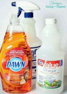 HOME-MADE SHOWER CLEANER!! Mix 12 oz of Dawn dish soap with 12 oz of white vinegar into a spray bottle. Then spray the mixture onto the shower and let it sit for about 30 minutes and then wash it off.