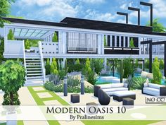Modern Oasis 10 house by Pralinesims at TSR via Sims 4 Updates