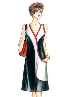 F3878   McCall's Patterns Marfy Patterns, Kwik Sew Patterns, Vogue Sewing Patterns, Vintage Sewing Patterns, Dress Patterns, Fashion Drawing Dresses, Fashion Illustration Dresses, Moda Retro, Illustration Mode