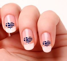 20 Nail Art Decals Transfers Stickers #274 - Greece Flag Heart  | eBay