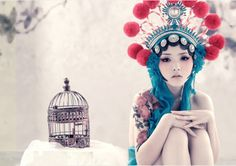 Female japonese Headdress | Asian,birdcage,girl,headdress,fashion,japan ...