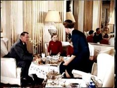 Royal Teatime - King Frederik IX Family-short clip in color circa 1950s showing King Frederik, Queen Ingrid, Crown Princess Margrethe, Princess Benedikte and Princess Anne-Marie within a 1969 interview of the King and Queen