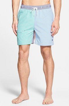f3b8373087 Brooks Brothers Mixed Gingham Panel Swim Trunks available at #Nordstrom Gingham  Check, Dresser Drawers