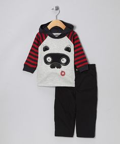 Take a look at this Gray & Red Cat Hooded Top & Black Pants - Infant by Little Rebels on #zulily today!