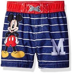 e10d713f31 NWT Mickey Mouse Baby Boy Striped M Swim Trunks 12 Months Disney Junior UPF  50+
