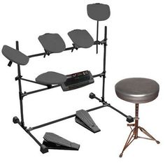 Professional Electric Drum Kit . + Double Braced Folding Padded Drum Throne - Keyboard Bench - Guitar Stool.