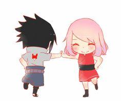 Aww ,so so so cute 😍 Naruto Minato, Anime Naruto, Chibi Anime, Naruto Cute, Anime Kawaii, Sakura Haruno, Sakura And Sasuke, Cute Anime Coupes, Cute Little Drawings