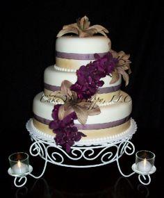 Champagne & Plum Wedding Cake