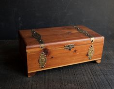 Vintage Wooden Jewelry Box Chest- Rustic Victorian