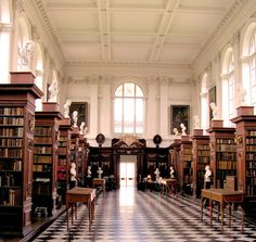 The Wren Library at Trinity College in Cambridge, England. It was designed by Christopher Wren in 1676 and completed in 1695.