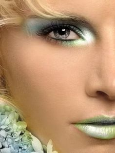 pastel blue and green makeup