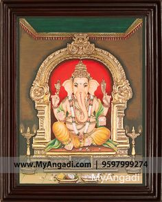 Vinayagar Tanjore Painting Call us or Whatsapp @ 9597999274 #TanjorePainting #Painting #MyAngadi