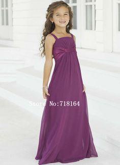 Purple chiffon long flower girl dress 2015 junior bridesmaid dress for weddings girls long formal dresses party vestido de noiva