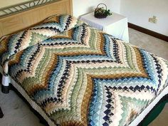Green Blue and Gold Fancy Bargello Quilt