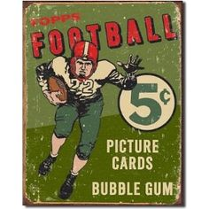 Topps 1956 Football Metal Tin Sign 12.5W x 16H , 13x16