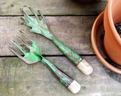 Vintage Garden Hand Tools Rake Claw Cultivator by CalloohCallay, $25.00