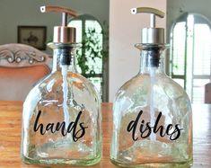 bottle crafts for bathroom Bird Feeders Glass Mason Jar Handmade Item- Blue Patron Bottle Crafts, Alcohol Bottle Crafts, Glass Bottle Crafts, Alcohol Bottles, Diy Bottle, Old Bottles, Snapple Bottle Crafts, Whiskey Bottle Crafts, Alcohol Bottle Decorations