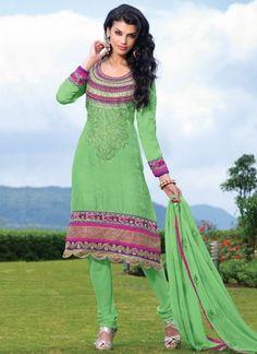 Light green with heacy handwork Churidar Suit