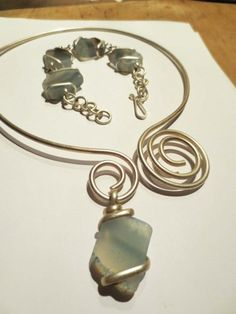 Blush Blue Quartz Swirl Necklace and Bracelet Set