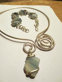 Blush Blue Quartz Swirl Necklace and Bracelet Set