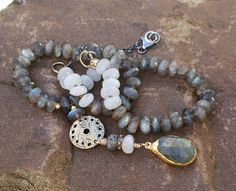 Labradorite knotted necklace  Chic boho lux 'All by Mollymoojewels