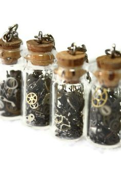 Steampunk Bottle Gear Necklace by WhereBirdsSoar on Etsy, $18.00