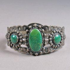 Harvey-Era Three-Stone Bracelet  Navajo