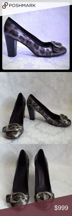 """🌺DISC SHIP🌺Black, Silver and Gray Cheetah Heels Check out my other listings - 100's of 👠shoes👠, 👢boots👢 and 👜bags👜. Bundle 2 or more and save money! 💲💵💲  Madeline black, silver and gray cheetah print shoes with  3 1/2"""" black patent heels. Style is """"Morlan"""". Rounded toe. Size 7 1/2.   Good used condition. A few scuffs on heel - hard to see due to the shine of the patent material. Smoke free and pet free home. Madeline Shoes Heels"""